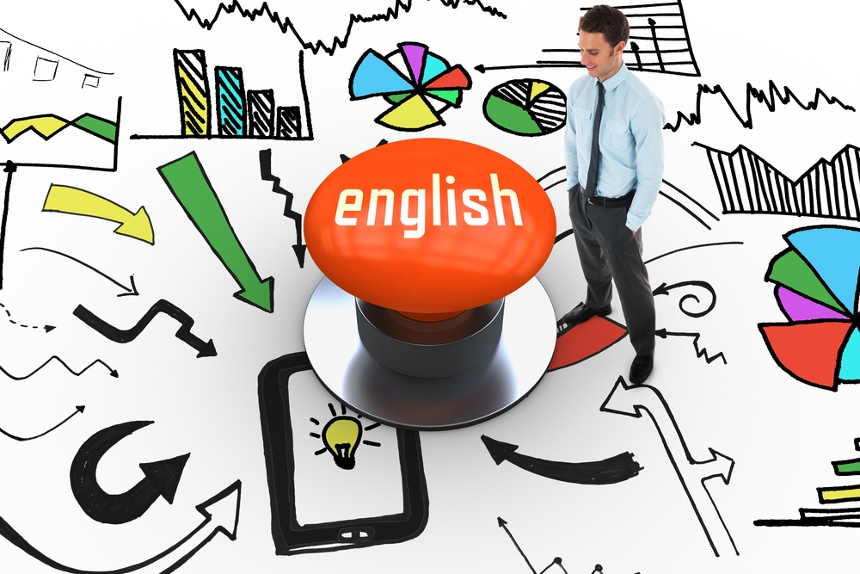 The word english and happy businessman standing with hands in pockets against orange push button